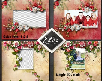 Digital Scrapbooking QUICK PAGES 5 & 6 created using ELEGANCE Kit premade Page to make immediate scrap page