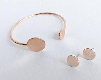 Dot Earrings + Bracelet ROSÉGOLD Circle Circle