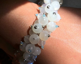 Shimmering Rainbow Moonstone bracelet. A mystical and mysterious gem with spiritual significance.
