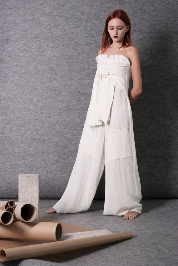 CREAM wide leg JUMPSUIT