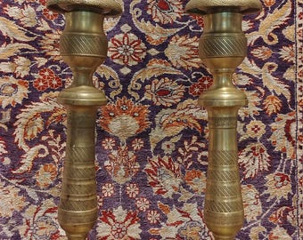 """Pair of early 1800's French Brass Candlesticks 10.5"""" tall with ornate hand chased decoration"""