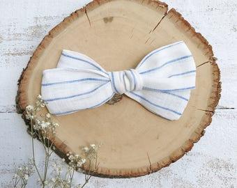Oversized School Girl Blue Stripe Linen Bow