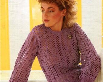 Ladies vintage crochet jumper pattern pdf digital download