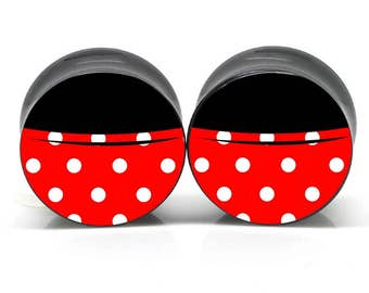 Ear Gauges STAINLESS STEEL Double Flare Mouse Skirt Disney Minnie Ear Plugs Body Jewelry Body Modification Mod