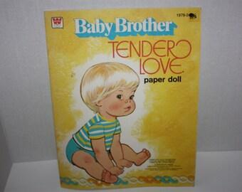 Whitman 1977 Baby Brother Tender Love Paper Doll Book Unused Uncut Vintage