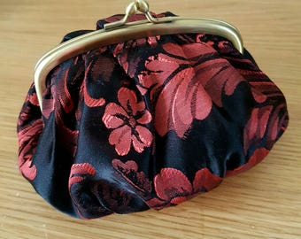 Evening Clutch Bag Make Up Black & Red Floral Satin Purse Brass Bronze