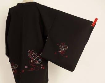 """M42604 Japanese Black """"Eba-Haori"""" Jacket Vintage"""