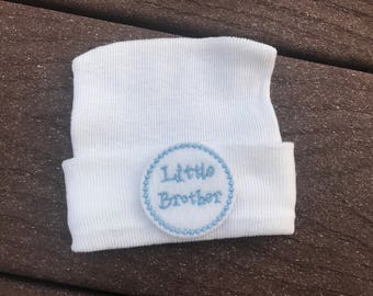 Little brother hospital hat baby boy hospital hat baby boy hospital hat newborn cap baby hat little brother take home outfit little brother