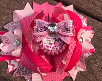 Big sister bows bows for big sisters big sister announcement big sister gift baby shower gift bog sister over the top bow