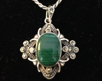 Sterling Malachite and Marcasite pNecklace