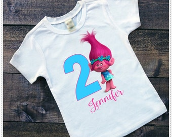 Troll Poppy  Birthday Tee or Bodysuit; Bodysuit size 6-24 Month; Tee size 2T and up; FREE Personalization