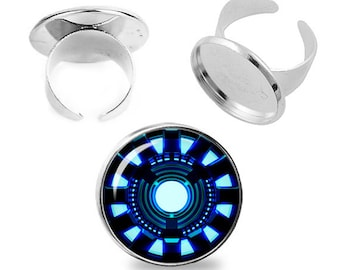 Arc Reactor Adjustable ring Iron Man Ring Superheroes Jewelry Fanboy Fangirl