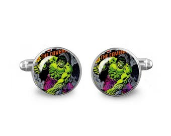 Hulk Cuff Links Hulk Comic Cuff Links 16mm Cufflinks Gift for Men Groomsmen Novelty Cuff links Fandom Jewelry