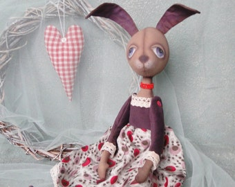 Primitive doll home decoration country style toy shelf sitter Art rabbit OOAK hare soft sculpture rag dolls soft cloth fabrick primitives