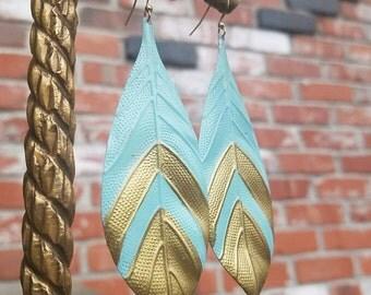 Baby Blue and Gold leaf enamel leaves earrings