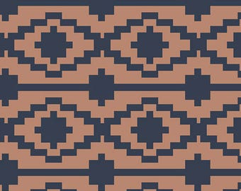 KNIT Fabric, Rivercane in Knit, Art Gallery Knits, Cotton Spandex Knit, Jersey Knit Fabric, Brown Navy Ethnic, k-14563