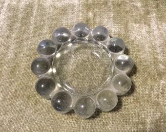 Vintage clear glass bubble ash tray, retro ash tray, vintage decor, round bubble dish