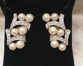 Vintage 1940/50s Rhinestone and Faux Pearl Cluster Earrings - converted from clip-on to pierced