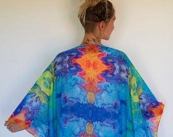 Blue, green, orange, yellow sarong scarf scarves microfiber polyester silk feel 140cm x 140cms large full mirrored print