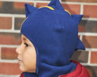 Boy's balaclava dinosaur hat - navy and yellow (made to order)