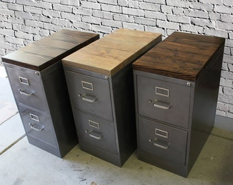 Refinished 2 drawer letter size Metal Filing Cabinet w/ Wood Top / industrial / metal filing cabinet / rustic office furniture