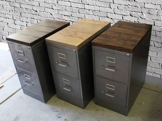 refinished 2 drawer letter size metal filing cabinet w wood. Black Bedroom Furniture Sets. Home Design Ideas