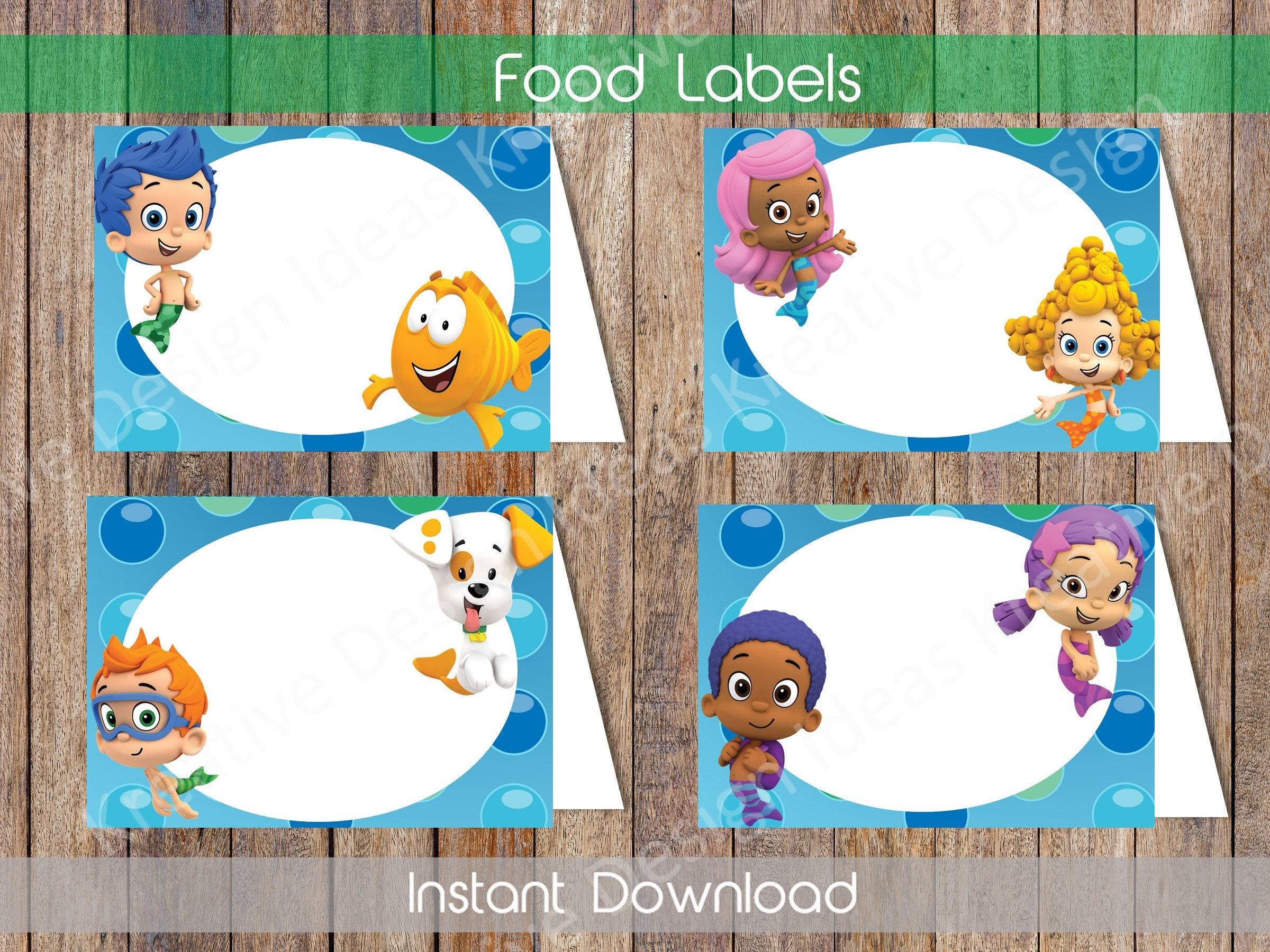 bubble guppies food labels bubble guppies food tent labels
