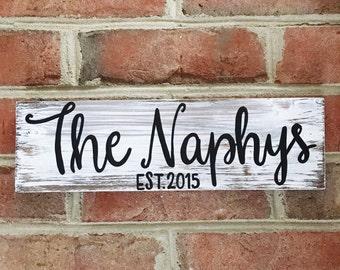 Last Name Sign | Wood Sign | Handlettered | Handmade