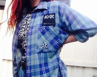 Patched Green Thrashed Old Flannel Check Shirt Tee ACDC Star