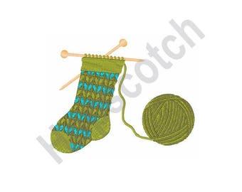 Stocking Knitting Yarn - Machine Embroidery Design