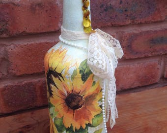 Beautiful shabby chic painted bottle candle holder/ornament