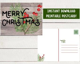 Merry Christmas - Printable Postcard - Christmas - Christmas Postcard - Instant Download