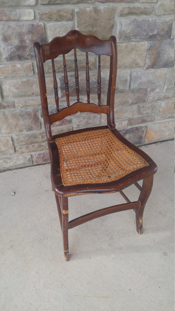 Antique Armless Wood And Cane Seat Chair