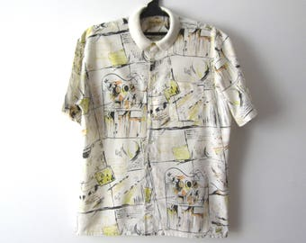 Vintage Mens Shirt Abstract Print Shirt Short Sleeve Shirt Mens Vacation Shirt Comfortable Summer Shirt Size Large Shirt Broken Arrow