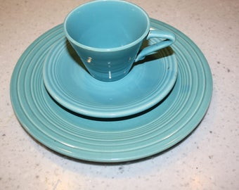 Blue Fiesta Dishes, plate, saucer and teacup