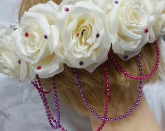 Pink and Purple Rose Goddess Floral Crown