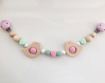 Stroller chain Pink White pastel birdie with crochet beads in mint