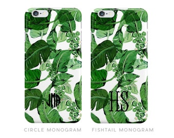 Preppy Palm Leaf Monogrammed iPhone Case [Personalized iPhone 6 iPhone 7 case]