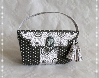 Handbag, packaging for gift certificate, birthday gift, coupon bag, black/white, classic,