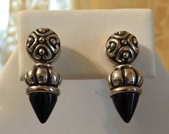 USA FREE SHIPPING-Black Onyx Sterling Silver Earrings