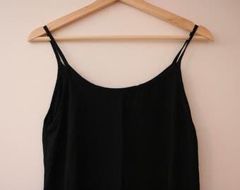 Vintage Simple Black Cami Crepe Maxi Dress