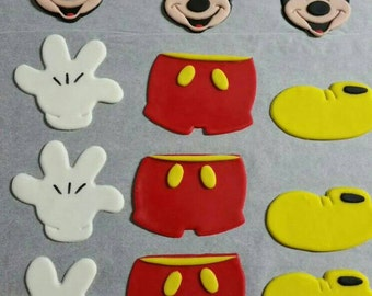 Mickey Mouse fondant edible cake cupcake topper cookie decorations