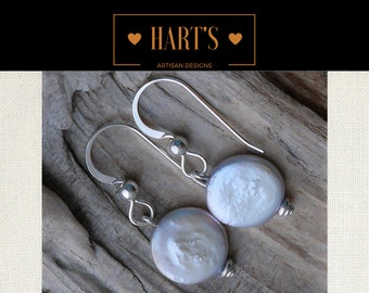 Forever Coin Pearl Argentium Silver Earrings