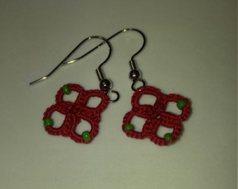 Hand tatted red with green beads earrings copper free