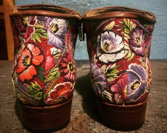Floral Leather Booties: Ankle Boots~Boho Boots~Brown Leather Boots~Leather Ankle Boots~Custom~Womens Boots~Fall Boots~Winter Boots~Hippie