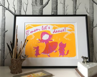 C'mon Let's Dance! framed 35x50cm yellow and magenta screenprint