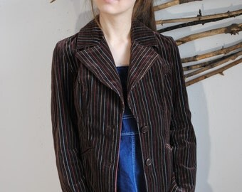 Vintage womens coat at line print dark brown jacket 1960s 1980s