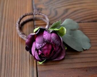 Romantic Purple Floral Napkin Rings (Set of 6)