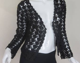 Crochet Shrug Black Open Front by Say What? Size Medium