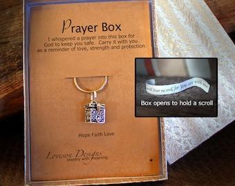 Prayer Box Necklace, Prayer Box Key Chain, Antiqued Pewter Prayer Box, Angel Caller